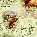 Mountain Elk 25809 H Elk Vignettes Light Green, Quilting Treasures