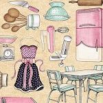Home Sweet Home Kitchen Toss Cream 26326 E, Quilting Treasures