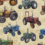 Sunrise Farms 27419 E Tractor Toss Cream Quilting Treasures