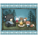 Campfire Friends 27459 Q Turq Panel Quilting Treasures