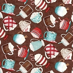 Brown Tossed Cocoa Cups 27573 234, Wilmington Prints