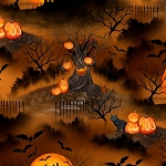 Haunted Night 27588 289 Brown Night Scene, Wilmington Prints