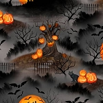 Haunted Night 27588 989 Black Night Scene, Wilmington Prints