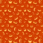 Haunted Night 27591 858 Orange Spooky Faces, Wilmington Prints
