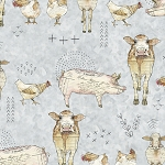 Farm Life 27677 K Farm Animal Grey Quilting Treasures