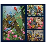 Songbirds 27783 N Large Patches Panel Navy Quilting Treasures