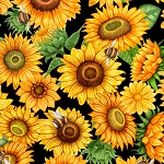 Always Face Sunshine 27844 J Packed Sunflowers Black, Quilting Treasures