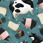 Down on the Farm 27858 Q Tossed Farm Animals Quilting Treasures