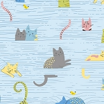 Whiskers Cats in Blinds 28021 B Blue Quilting Treasures