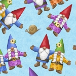 Home Sweet Gnome 28242 B Blue Tossed Gnomes Quilting Treasures