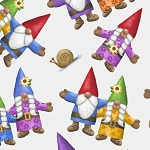 Home Sweet Gnome 28242 Z White Tossed Gnomes Quilting Treasures