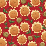 Home Sweet Gnome 28243 R Red Sunflowers Quilting Treasures