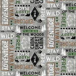 Cabin Welcome Flannel 36104 901 Words Toss Wilmington Prints