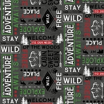 Cabin Welcome Flannel 36104 911 Words Toss Black Wilmington Prints