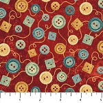 Stonehenge A Stitch in Time Oxidized Copper 39358 24 Red Buttons, Northcott