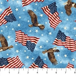 Stonehenge Stars and Stripes 6 39385 44 Blue Flags Eagles, Northcott