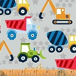 The Big Dig 42925 3 Grey Trucks, Windham Fabrics