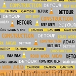 The Big Dig 42927 3 Construction Words Grey, Windham Fabrics