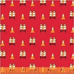 The Big Dig 42928 4 Barricade Cones Red, Windham Fabrics