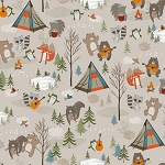Bear Camp 51559 1 Tan Camping Animals Windham Fabrics