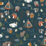 Bear Camp 51559 2 Blue Camping Animals Windham Fabrics