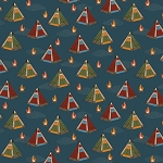 Bear Camp 51560 2 Blue Tents Windham Fabrics