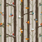Bear Camp 51561 1 Tan Birds Trees Windham Fabrics
