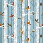 Bear Camp 51561 5 Lt Blue Birds Trees Windham Fabrics