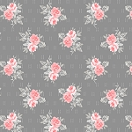 Colette 52053 4 Dark Grey Small Rose Bouquet Windham Fabrics