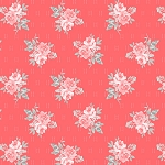 Colette 52053 6 Dark Coral Small Rose Bouquet Windham Fabrics