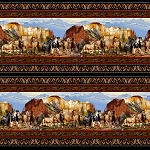 Black Scenic Double Border Horses 5356S 99 Studio E