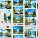 The Joy of Painting Bob Ross 5424 76 Canvas Brushes Blocks Digital Studio E