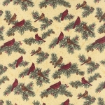 Cardinal Reflection Flannel 6642 11F Cream Small Cardinals, Holly Taylor by Moda
