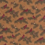 Cardinal Reflection Flannel 6642 14F Tan Small Cardinals, Holly Taylor by Moda