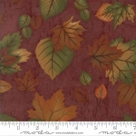 Endangered Sanctuary Flannel 6653 11F Mahogany Large Leaves, Holly Taylor by Moda