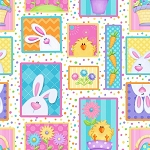 Hippity Hop 6679 21 Bunny Egg Squares, Shelly Comiskey by Henry Glass