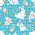 Hippity Hop 6682 11 Aqua Plaid Bunnies, Shelly Comiskey by Henry Glass