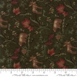 Return to Cub Lake Flannel 6742 14F Animals Dark Green, Holly Taylor by Moda