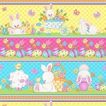 Hop To It 6858 21 Bunny Eggs Border Print, Henry Glass