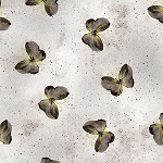 Floral Impressions Butterfly Wash Metallic 8674M 11 Light Grey, Benartex