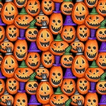 Spooky Town 9106 89 Orange Pumpkins Metallic, Henry Glass