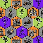 Spooky Town 9108 58 Halloween Honeycomb Metallic, Henry Glass