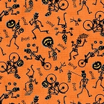 Spooky Town 9111 89 Orange Party Skeletons Metallic, Henry Glass