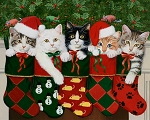 Christmas Stocking AL36140C1 Christmas Kitties Digital Panel David Textiles