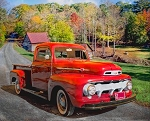 1952 Ford Red Truck on Road AL38099C1 Digital Panel, David Textiles