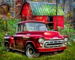 1957 Chevy Red Truck Red Barn AL38109C1 Digital Panel, David Textiles