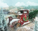 Vintage Red Truck Snowing Digital Panel AL38149C1, David Textiles