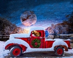 Christmas Red Truck Santas Sleigh Digital Panel AL38159C1, David Textiles