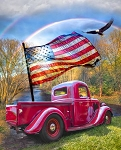 American Patriotic Red Truck AL38179C1 Digital Panel, David Textiles