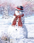 Snowman Snowy Field Digital Panel AL38269C1, David Textiles